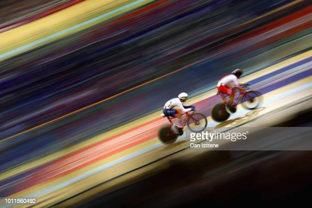 Wojciech Pszczolarski of Poland leads Oliver Wood of Great Britain in the Mens 40km Points Race during the track cycling on Day Four of the European...