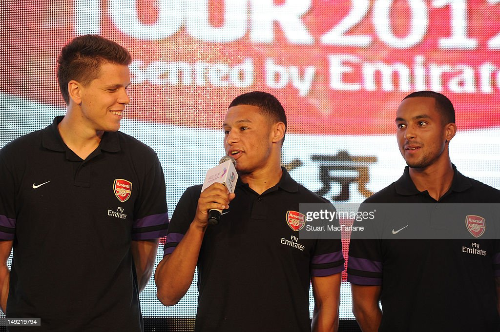 Wojciech Szczesny, Alex Oxlade-Chamberlain and Theo Walcott attend a charity dinner in Beijing during their pre-season Asian Tour in China on July 25, 2012 in Beijing, China.