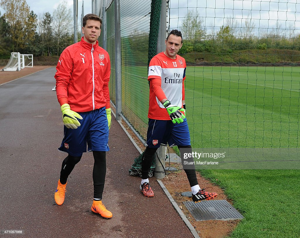 Wojciech Szczesny and David Ospina of Arsenal before a training session at London Colney on April 25, 2015 in St Albans, England.