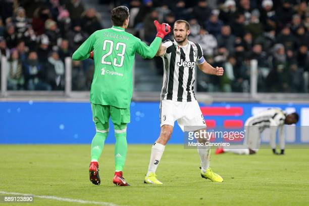 Wojciech Szczesny and Giorgio Chiellini of Juventus having an hifive during the Serie A football match between Juventus FC and Fc Internazionale The...