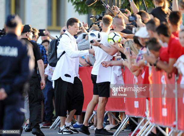 Wojciech Szczesny arrives by helicopter at Arlamow Hotel for the second phase of preparation for the 2018 FIFA World Cup Russia on May 29 2018 in...