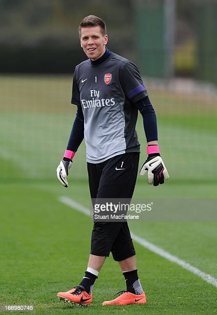 Wojciech Szczesny of Arsenal during a training session at London Colney on April 19 2013 in St Albans England
