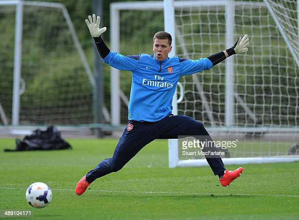 Wojciech Szczesny of Arsenal during a training session at London Colney on May 10 2014 in St Albans England