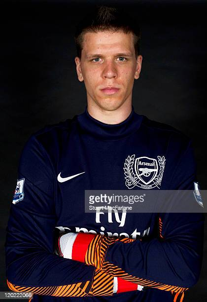 Wojciech Szczesny of Arsenal FC poses in the Arsenal home kit for the 2011/2012 season at their London Colney training ground on April 8 2011 in St...
