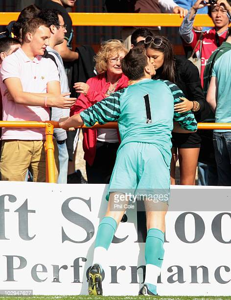 Wojciech Szczesny of Arsenal seal's his first team game with a kiss during the preseason friendly match between Barnet and Arsenal at Underhill on...