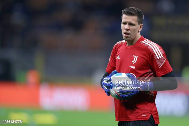 Wojciech Szczesny of Juventus Fc during warm up before the Serie A match between Fc Internazionale and Juventus Fc. The match ends in a tie 1-1.