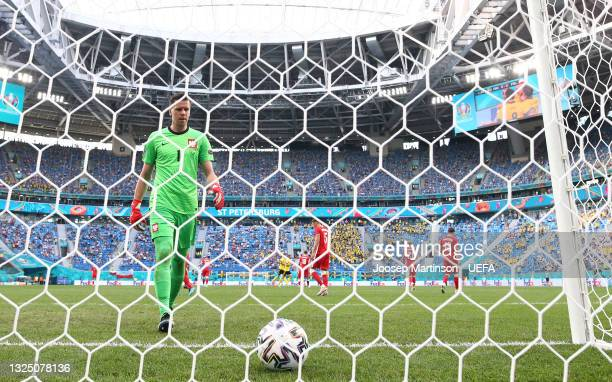 Wojciech Szczesny of Poland collects the ball from the net after the Sweden first goal scored by Emil Forsberg during the UEFA Euro 2020 Championship...