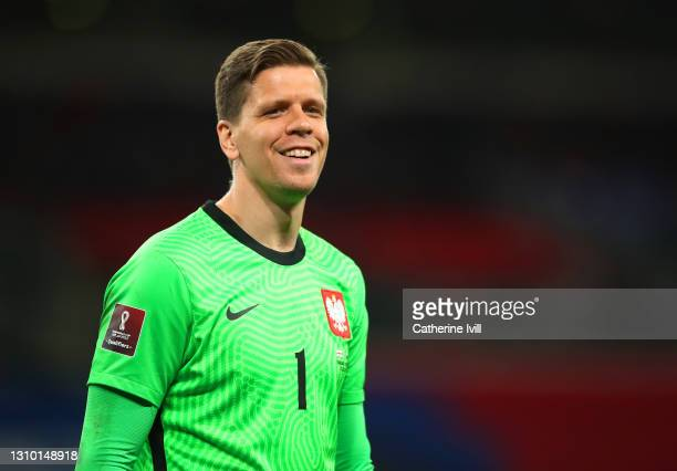 Wojciech Szczesny of Poland reacts during the FIFA World Cup 2022 Qatar qualifying match between England and Poland on March 31, 2021 at Wembley...
