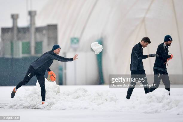 Wojciech Szczesny throwing an oversize snow ball during a Juventus training session at Juventus Center Vinovo on February 23 2018 in Vinovo Italy