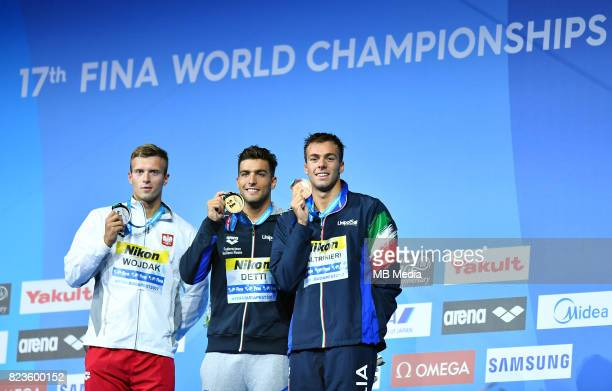 Wojciech Wojdak ceremonia medalowa medal radosc feta Gabriele Detti Gregorio Paltrinieri during the Budapest 2017 FINA World Championships on July 26...