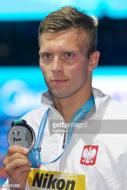 Wojciech Wojdak wins the Bronze medal on Men's 800 m Freestyle during the 17th FINA World Championships at Duna Arena in Budapest Hungary Day 13 on...