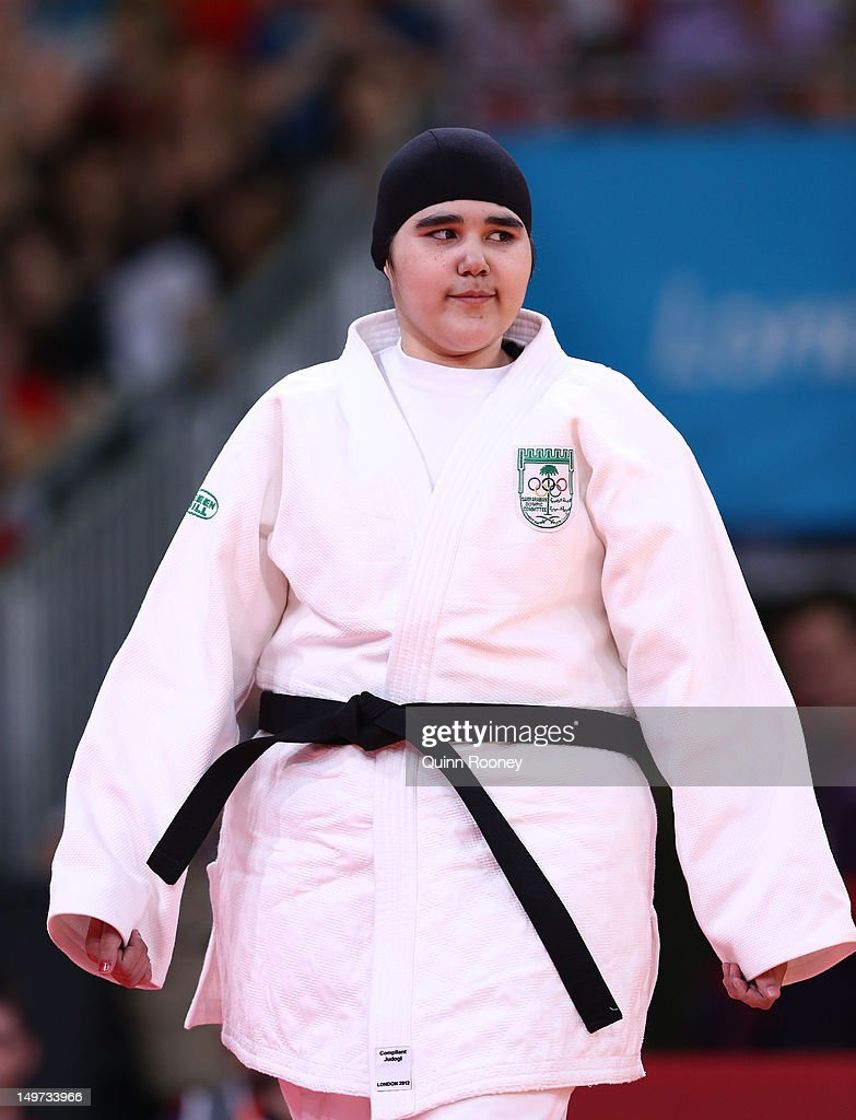 Wojdan Shaherkani of Saudi Arabia (white) competes in the Women's +78 kg Judo on Day 7 of the London 2012 Olympic Games at ExCeL on August 3, 2012 in London, England.