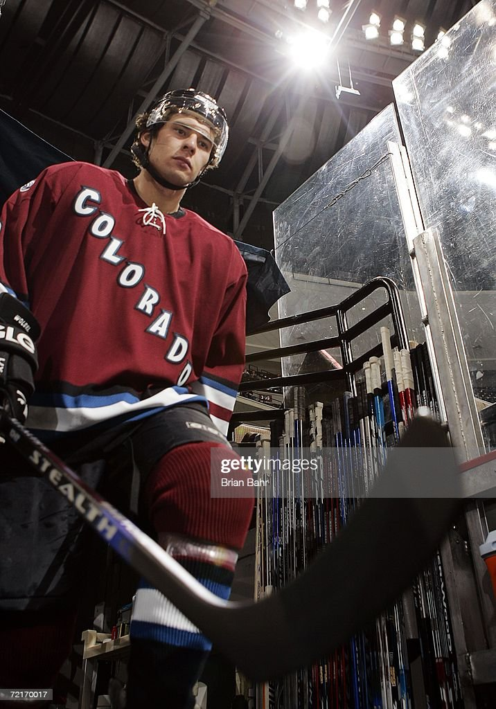 Wojtek Wolski #8 of the Colorado Avalanche heads onto the ice before a game against the Edmonton Oilers on October 14, 2006 at the Pepsi Center in Denver, Colorado.