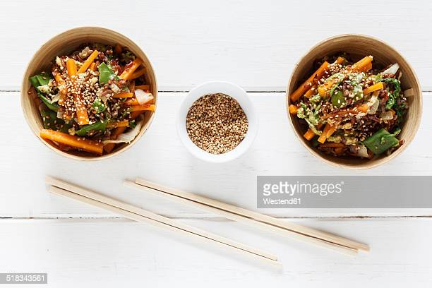 Wok dish with red rice