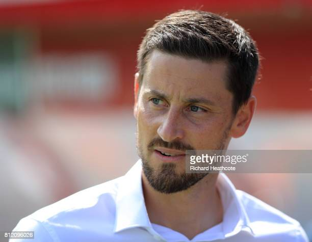 Woking manager Anthony Limbrick looks on during the preseason friendly match between Woking and Watford U23 at the Laithwaite Community Stadium on...