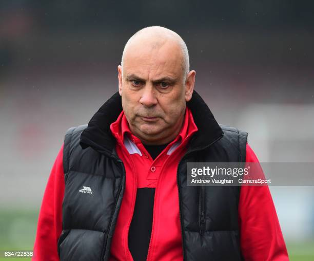 Woking manager Garry Hill during the Vanarama National League match between Lincoln City and Woking at Sincil Bank Stadium on February 11 2017 in...