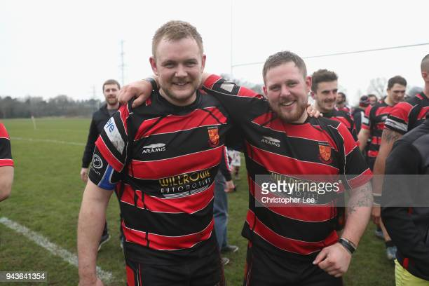 Woking RFC players celebrate winning the league during the Surrey 4 London and SE Division match between Woking RFC and Guildfordians at Byfleet...