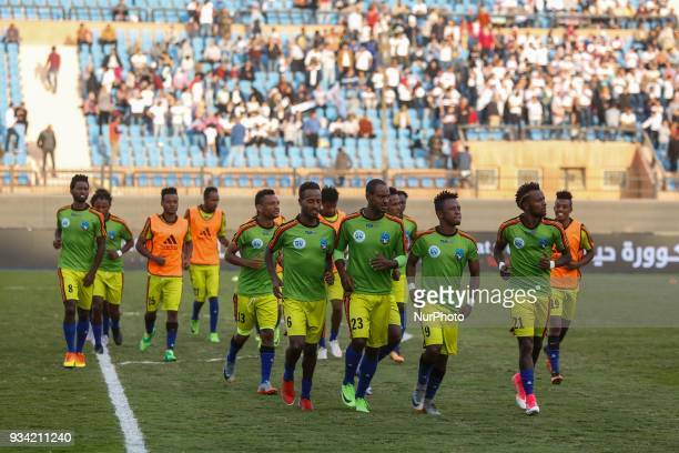 Wolaita Dicha's players before start the match between Zamalek SC vs Wolaita Dicha during African Confederation Cup 2018 in Cairo on March 18 2018