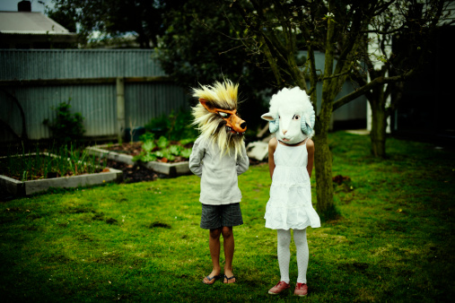 Wolf and sheep mask worn by childrens - gettyimageskorea