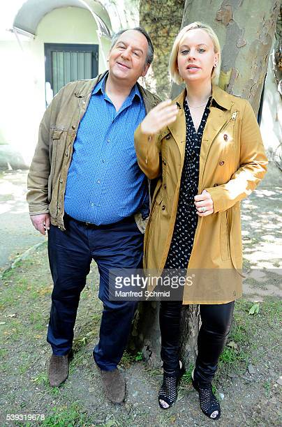 Wolf Bachofner and Katharina Strasser pose during the 'Schnell ermittelt' on set photo call on June 8, 2016 in Vienna, Austria.