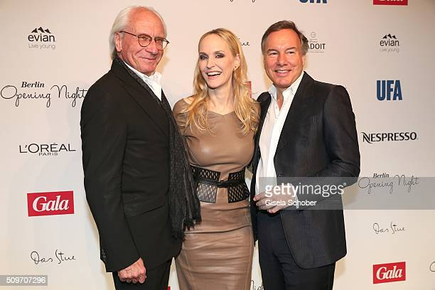 Wolf Bauer, Anne Meyer-Minnemann, editor in chief of Gala, and Nico Hofmann during the 'Berlin Opening Night of GALA & UFA Fiction' at Das Stue Hotel...