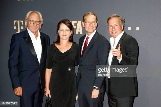 Wolf Bauer director and CEO UFA mayor of Berlin Michael Mueller and his wife Claudia Mueller and Nico Hofmann CEO UFA attend the UFA 100th...