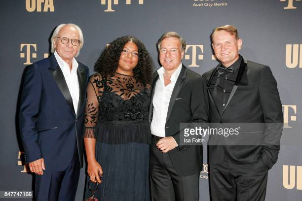 Wolf Bauer producer and CEO UFA Francine Striesow Nico Hofmann CEO UFA and German actor Devid Striesow attend the UFA 100th anniversary celebration...