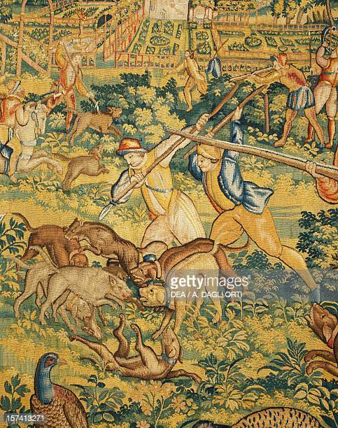 A wolf being killed detail from The wolf hunt late 16th century Flemish tapestry from cartoons by Cornelius Mattens Brussels manufacture Belgium 16th...