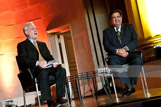 Wolf Blitzer and Bill Richardson speak during the Refugees International's 32nd Anniversary Dinner at Andrew W Mellon Auditorium on May 5 2011 in...