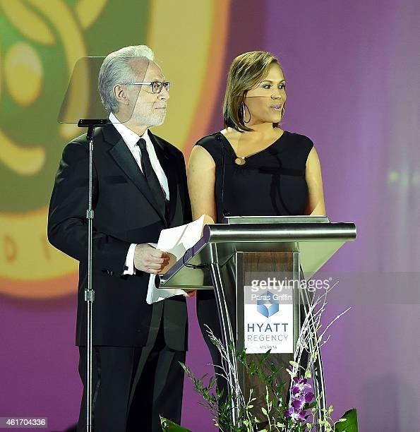 Wolf Blitzer and Jovita Moore onstage at Salute To Greatness Awards Dinner at The Hyatt Regency Atlanta on January 17 2015 in Atlanta Georgia