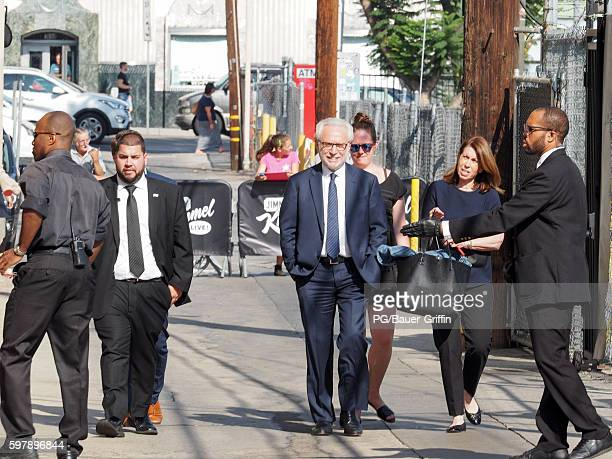 Wolf Blitzer and wife Lynn Greenfield are seen arriving at Jimmy Kimmel Live on August 29 2016 in Los Angeles California