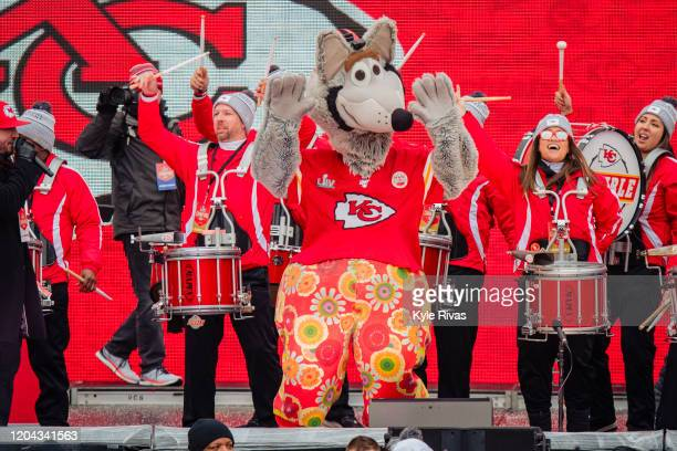 Wolf entertains fans during the Kansas City Chiefs Victory Parade on February 5 2020 in Kansas City Missouri