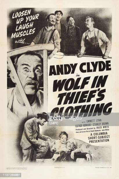 Wolf In Thief's Clothing poster US poster art top in eyeglasses Andy Clyde bottom from left Emmett Lynn Esther Howard Andy Clyde 1943