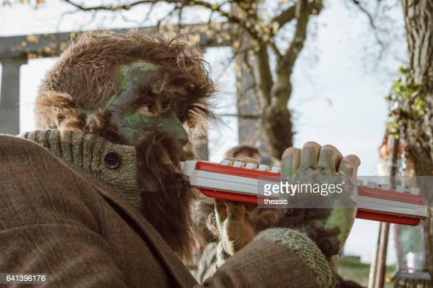 wolf man musician at halloween in edinburgh - istock stock pictures, royalty-free photos & images