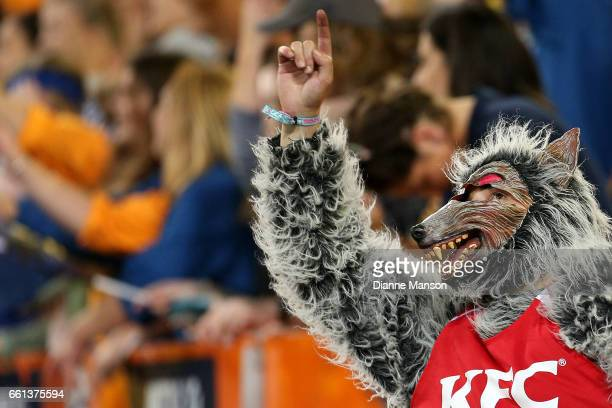 KFC wolf mascot reacys during the round six Super Rugby match between the Highlanders and the Rebels at Forsyth Barr Stadium on March 31 2017 in...