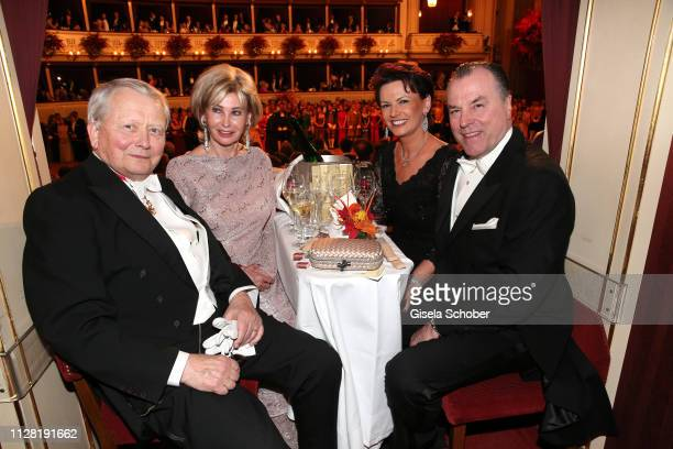 Wolfang Porsche and his wife Claudia Huebner-Porsche, Margit Toennies and her husband Clemens Toennies during the Opera Ball Vienna at Vienna State...
