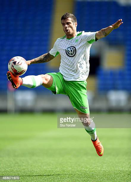 Wolfburg player Vieirinha in action during the friendly match between Cardiff City and VFL Wolfsburg at Cardiff City Stadium on August 2 2014 in...