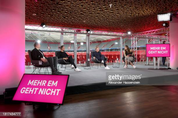 Wolff-Christoph Fuss, Fredi Bobic, Johannes B. Kerner, Amelie Stiefvatter are seen on the stage during the the Magenta TV EURO 2020 Media Day at...