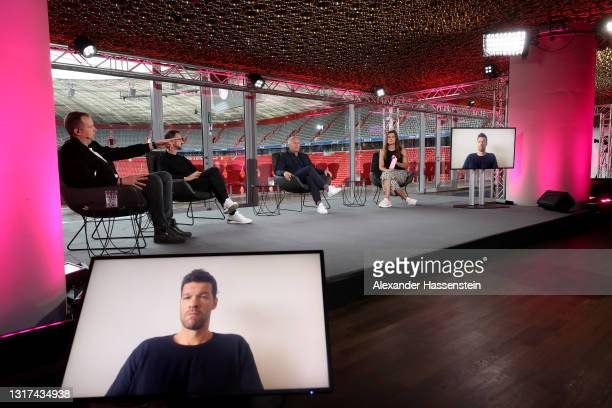 Wolff-Christoph Fuss, Fredi Bobic, Johannes B. Kerner, Amelie Stiefvatter are seen on the stage whilst Michael Ballack is cut in during the the...