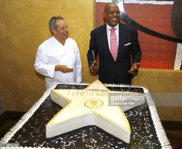 Wolfgand Puck and Forest Whitaker during Forest Whitaker Honored with a Star on the Hollywood Walk of Fame Luncheon at Vert in Los Angeles California...