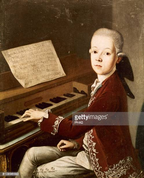 Wolfgang Amadeus Mozart Austrian composer Mozart at the age of twelve at the spinet Painting by Franz Thaddaus Helbling 1768 There is the conviction...