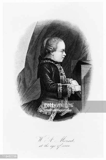 Wolfgang Amadeus Mozart c1763 Mozart at the age of seven seated at the keyboard