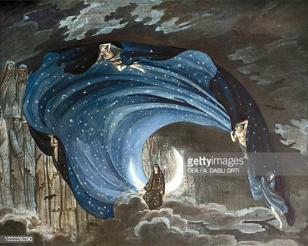 Wolfgang Amadeus Mozart Die Zauberflote 1791 Set design by Simon Quaglio the Queen of the Night Performance at Berlin 1818