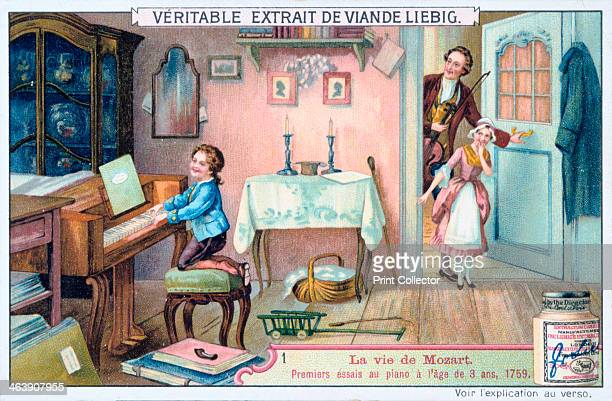 Wolfgang Amadeus Mozart in 1759 Mozart's first attempt at the age of three to play the piano In the doorway his sister Nannerl and his father Leopold...