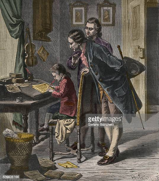 Wolfgang Amadeus Mozart wrote a concerto for harpsichord in the presence of his father Leopold and Andreas Schachtner 1762 engraving 1882