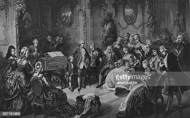 Wolfgang Amadeus MozartWolfgang Amadeus MozartLeopold MozartLeopold Mozart Musiker Komponist Österreich Mozart als sechsjähriger Knabe am Wiener Hofe...