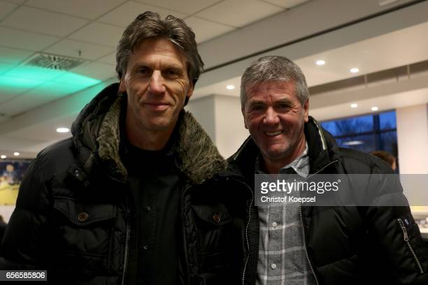 Wolfgang and Friedhelm Funkel pose during the Club of Former National Players Meeting at Signal Iduna Park on March 22 2017 in Dortmund Germany