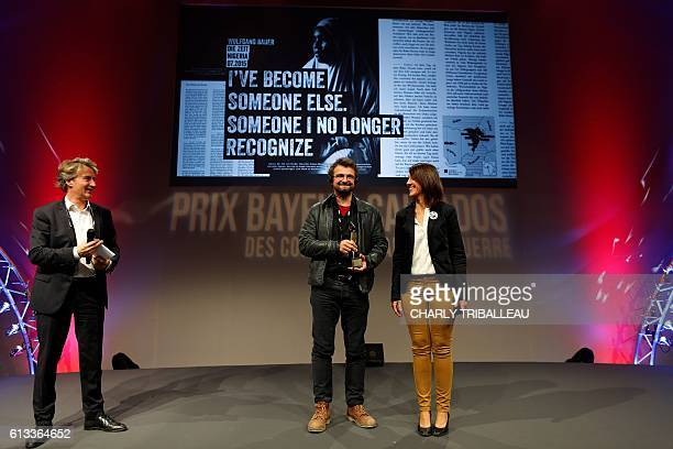 Wolfgang Bauer receives the Writing Press award by the Calvados Department, on October 8, 2016 in Bayeux, northwestern France, during the closing...