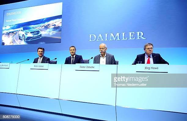 Wolfgang Bernhard Bodo Uebber Dieter Zetsche and Joerg Howe attend the Daimler AG annual press conference on February 4 2016 in Stuttgart Germany The...