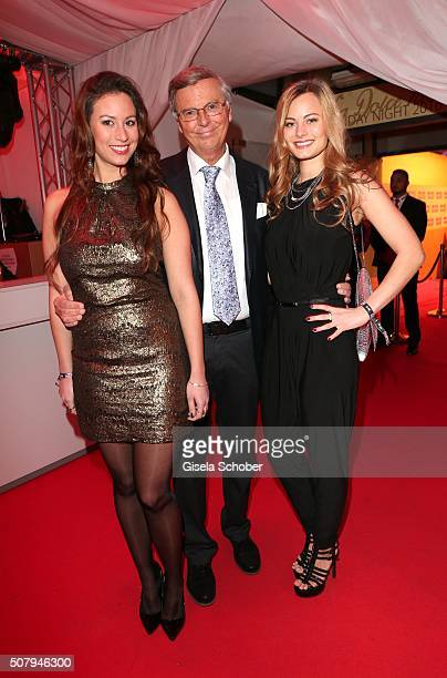 Wolfgang Bosbach and his daughter Viktoria and daughter Caroline during the Lambertz Monday Night 2016 at Alter Wartesaal on February 1 2016 in...